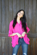 Load image into Gallery viewer, Pink Button Down Top With Ruffle Sleeves