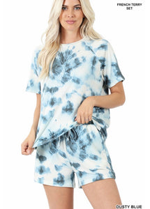 French Terry Tie Dye Raglan Sleeve Top & Short Set