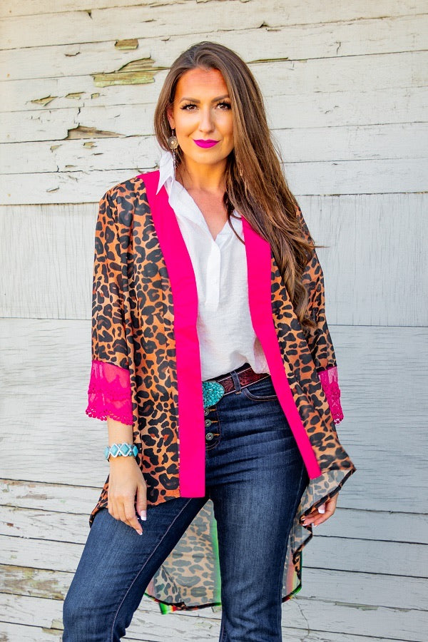 NEON LEOPARD AZTEC HIGH-LOW KIMONO WITH LACE TRIM