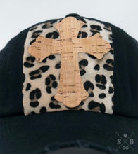 Load image into Gallery viewer, Rose Cork Cross & Leopard Square Patch on Black Distressed Hat