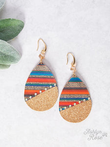 Split Between Grind and Shine Earrings, Serape and Leopard