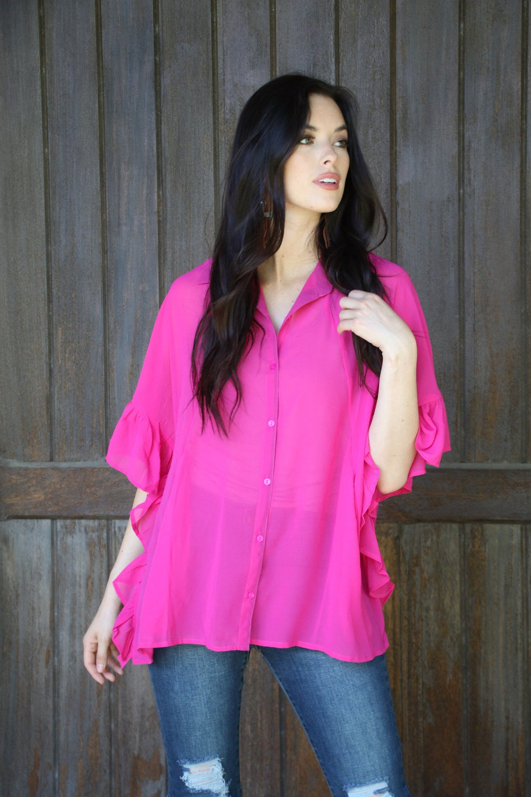 Pink Button Down Top With Ruffle Sleeves