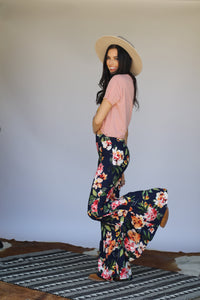 Navy Floral 3 Tiered Bell Bottoms