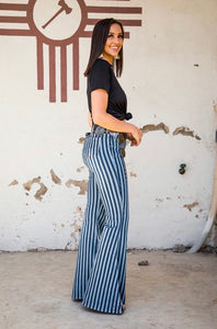 High Rise Denim Stripe Extreme Flare Jeans