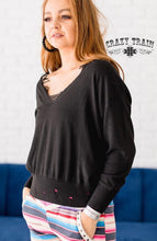 Load image into Gallery viewer, Black Aberdeen Distressed Sweater