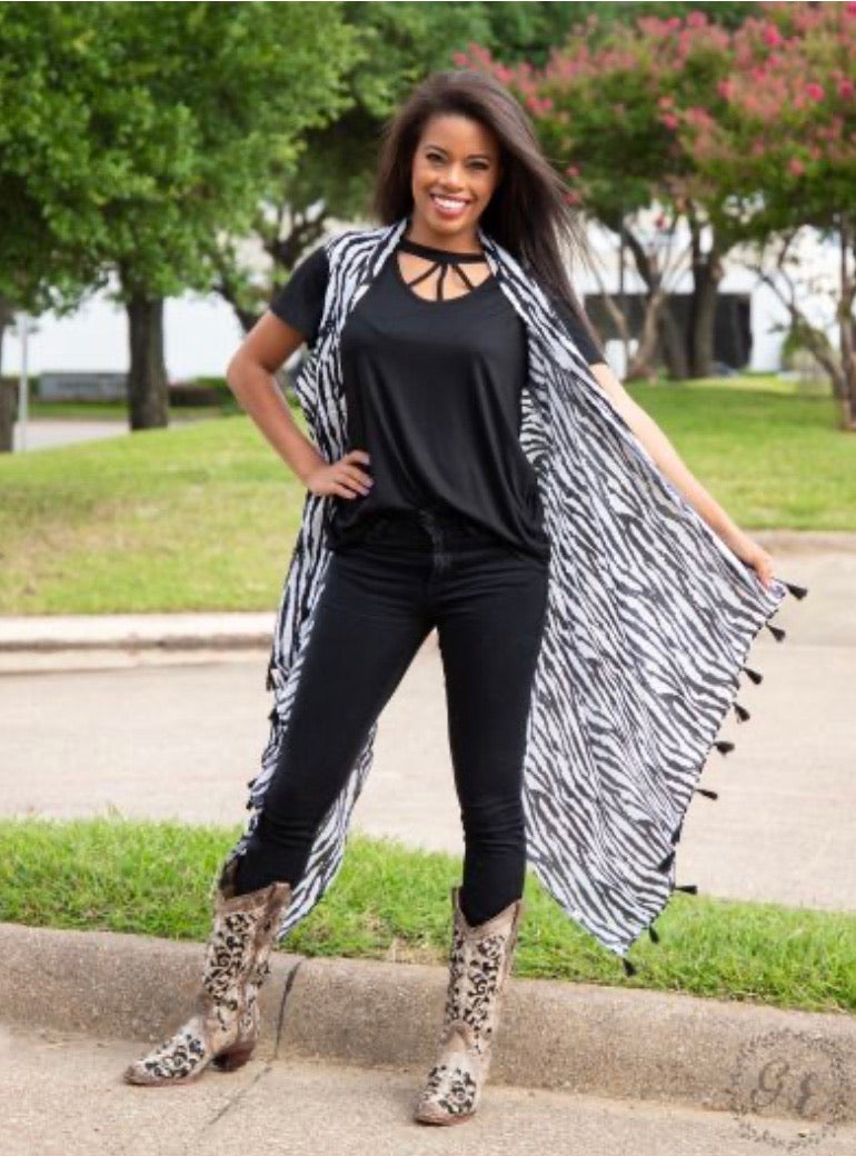 Back in Black & White Zebra-Print Cover Up with Black Tassels