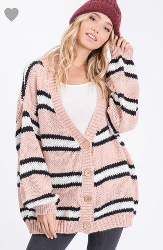Best Friend Super Soft Blush Stripe Cardigan