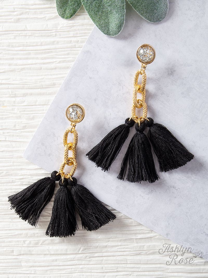 Speak to Me with Gold Chains Tassel Earrings, Black