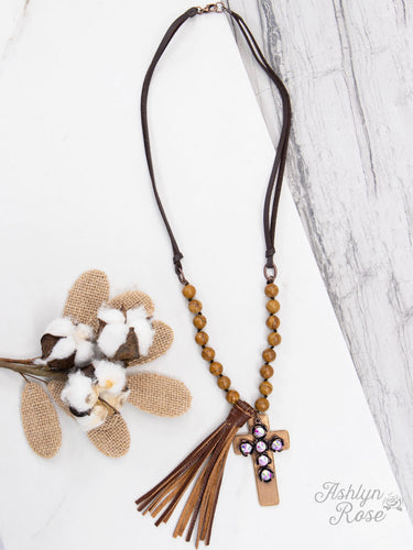 Layereda Cross Leather Strap Necklace With Cross Pendant & Leather Tassel