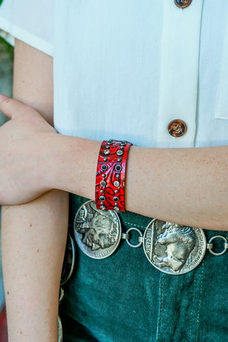 Red Tooled Leather Cuff