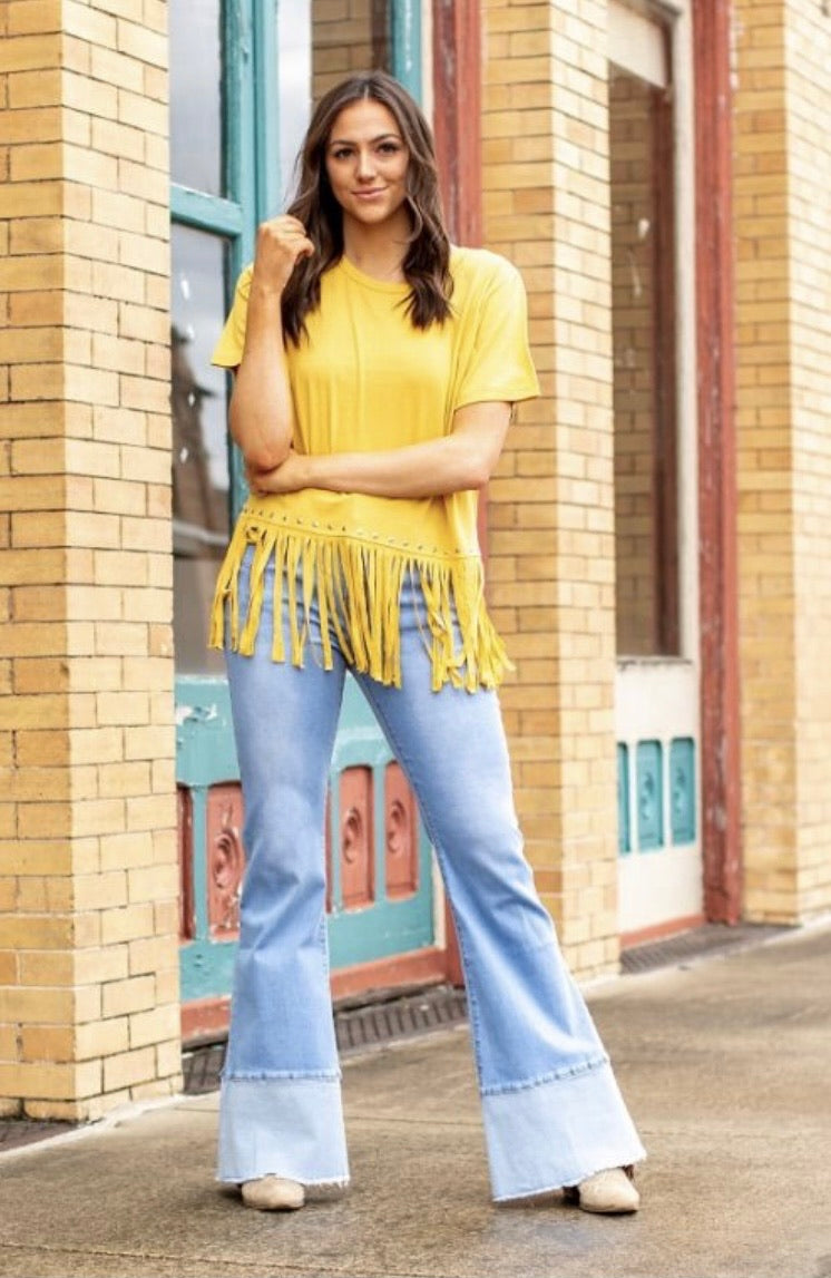 Light Wash Flare Jeans With Bottom Panel