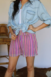 Neon Stripes Floral Chiffon Shorts