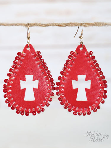 Red Leather Teardrop Cross Cutout Earrings, Gold