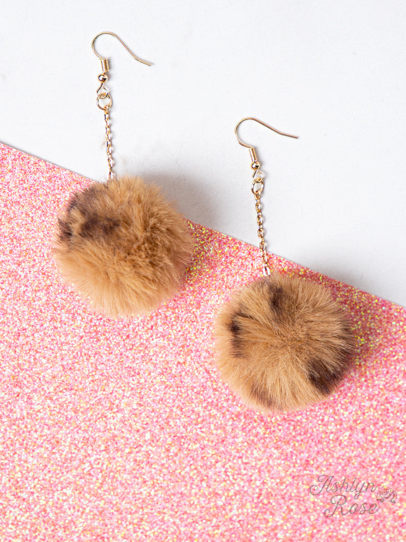 Live your Passion Long Pom Pom Earrings, Brown
