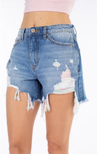 Load image into Gallery viewer, Landry's High Rise Distressed Uneven Hem Denim Shorts