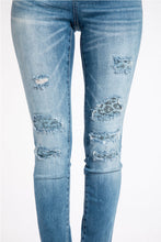 Load image into Gallery viewer, Sadie Distressed With Denim Blue Leopard Patches Skinny Jean
