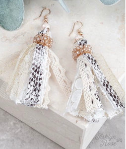 You're a Charmer Beaded Tassel Earring, White Snakeskin