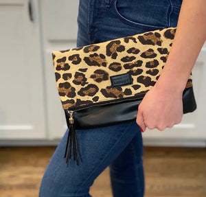 Fold Over Clutch - Leopard & Black with Burgundy Lining