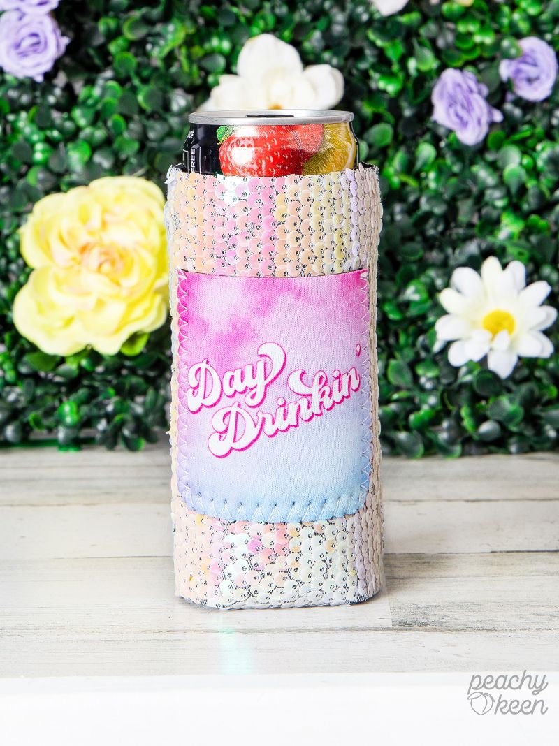 Peachy Keen Day Drinkin' Sequin Can Cooler For Slim Can