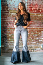 Load image into Gallery viewer, Grey Acid Wash / Black High Waisted Flare Jeans