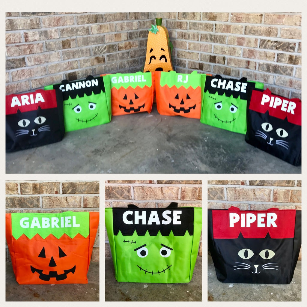 Personalized Halloween Treat Bags - Glow in the Dark Name