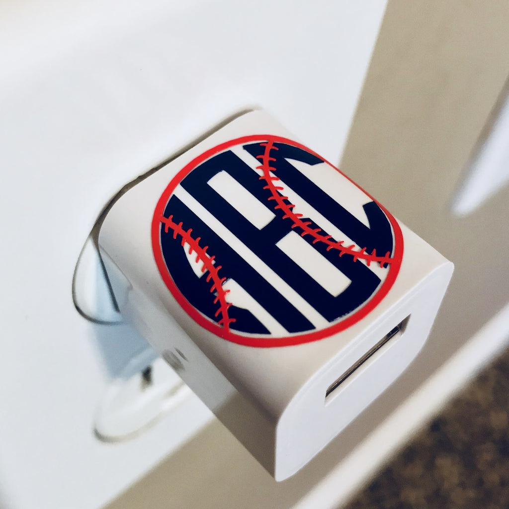 Baseball/Softball Monogram USB Wall Phone Charger