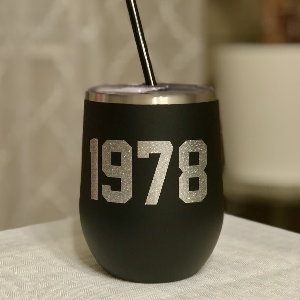 Custom Birth Year 12 oz Wine Tumbler
