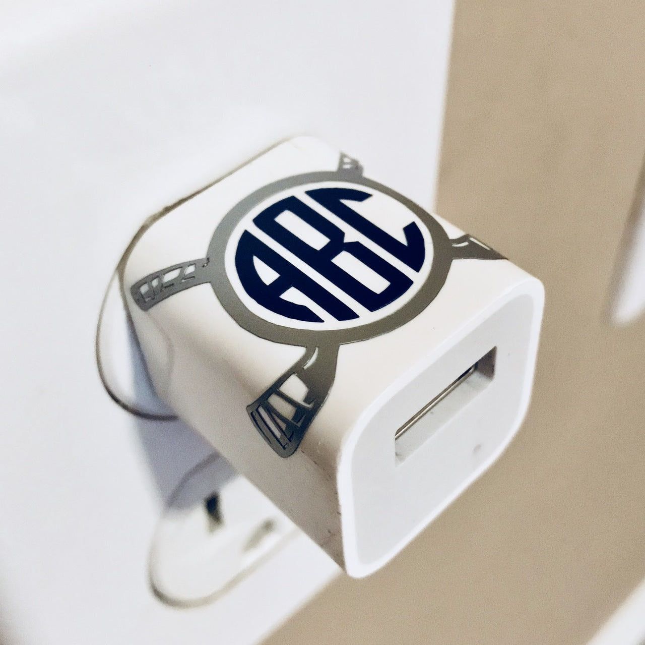 Hockey Sticks Monogram USB Wall Phone Charger