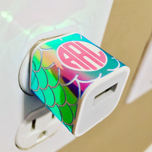 Holographic Mermaid Pattern Monogram USB Wall Phone Charger