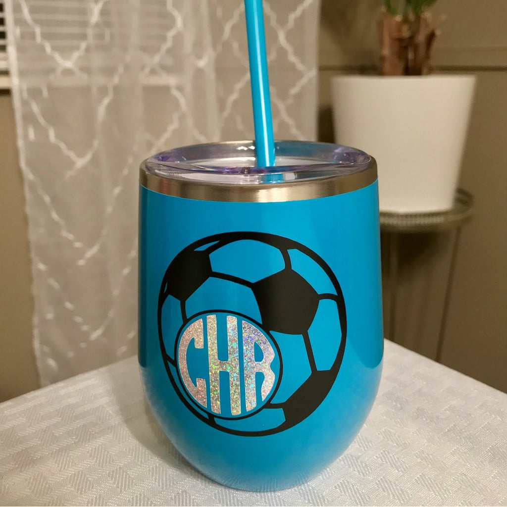 Soccer Ball Monogram 12 oz Wine Tumbler