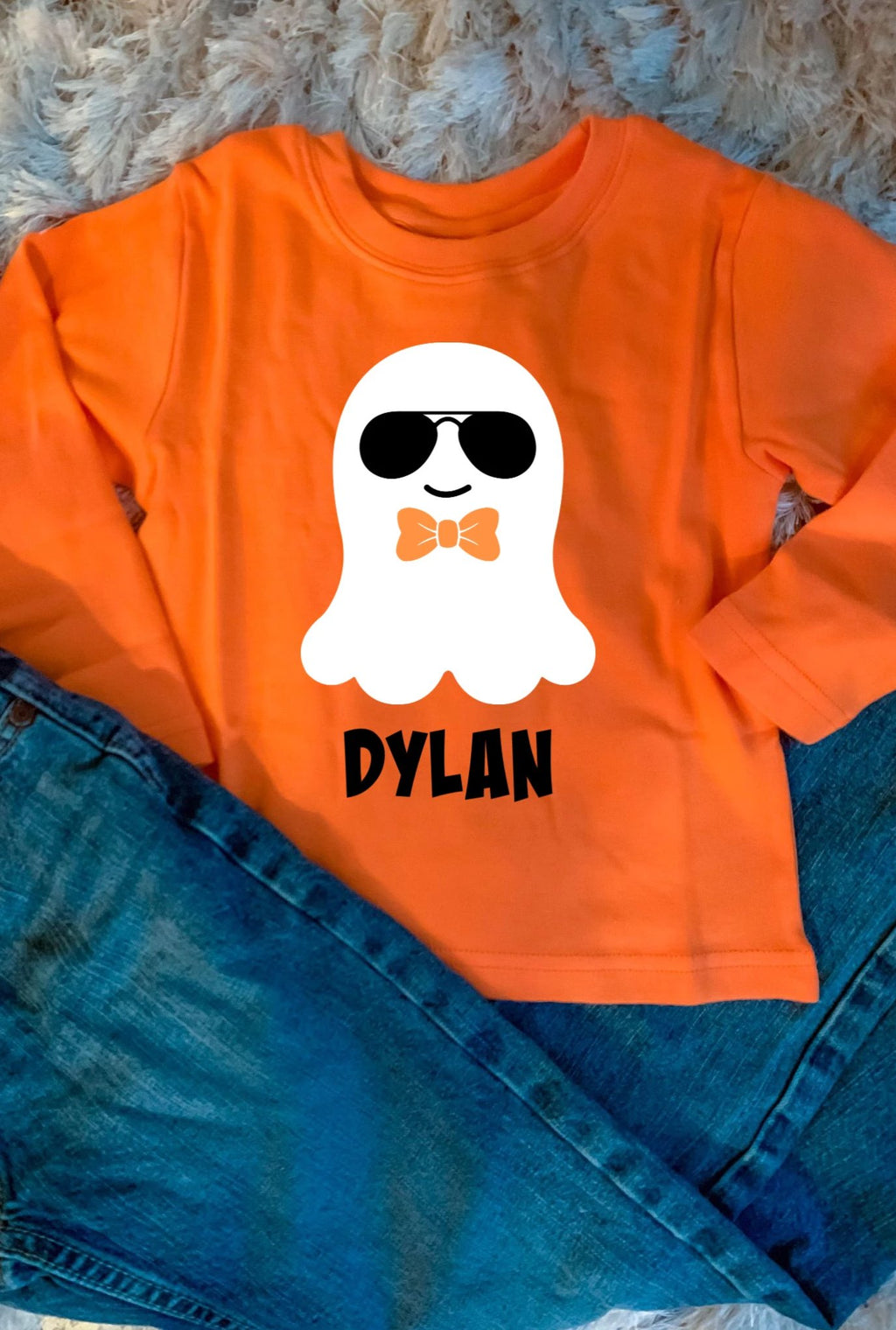 Boys Personalized Glow-In-The-Dark Cute Ghost Shirt