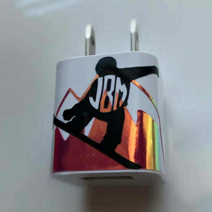 Monogram Snowboarder USB Wall Phone Charger
