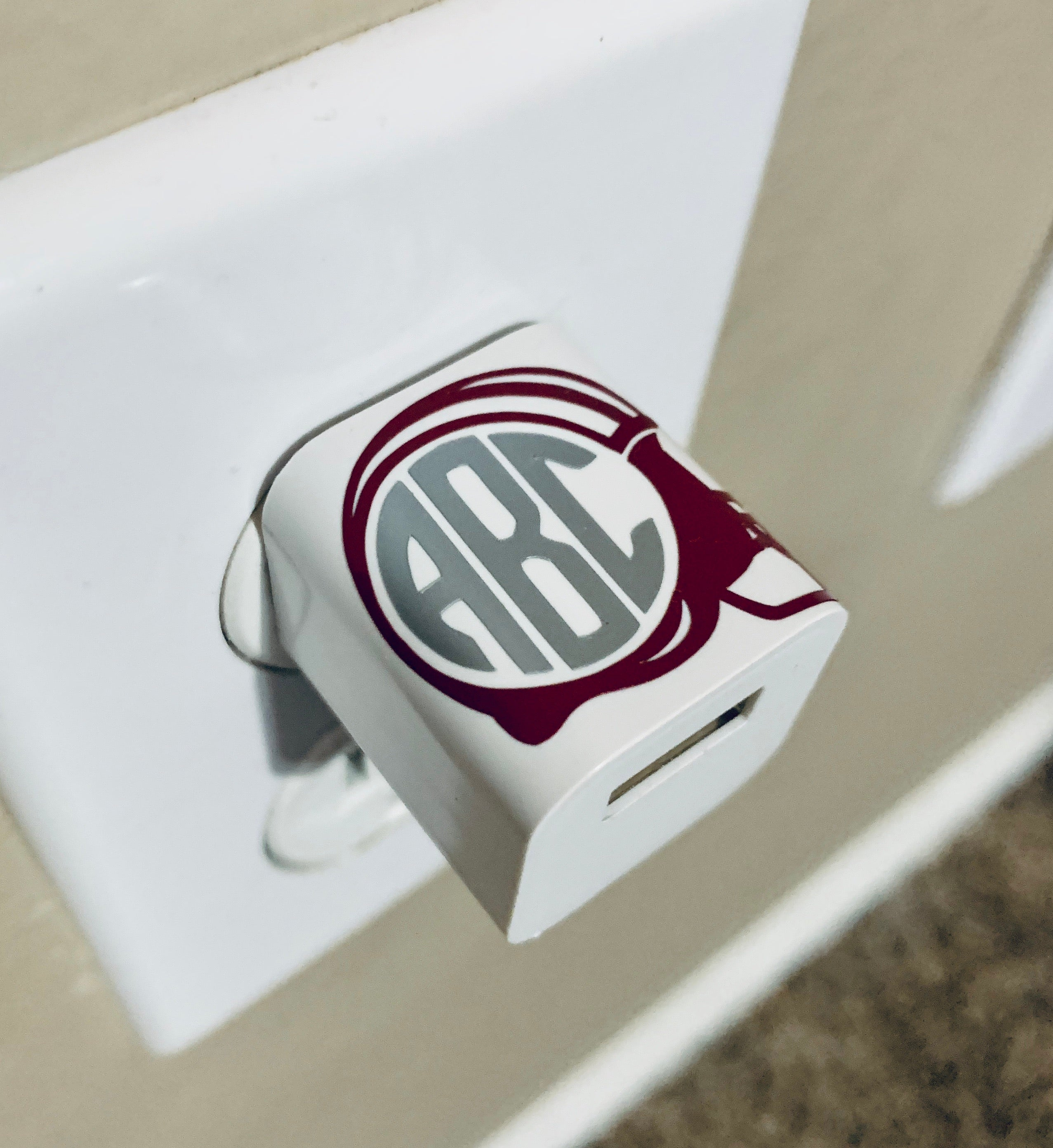 Football Helmet Monogram USB Wall Phone Charger