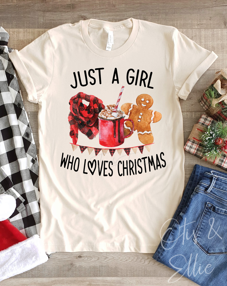 Just A Girl Who Loves Christmas Graphic Tee