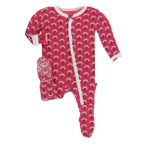 KP Red Ginger Mini Ruffle Zipper Footie