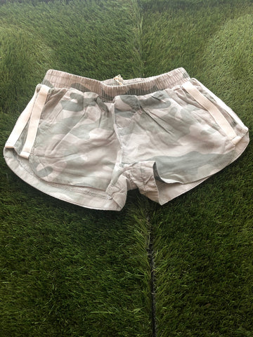 Vintage Havana Summer Camo Printed Washed Tencil Short W/Cream Stripe Detail Girls