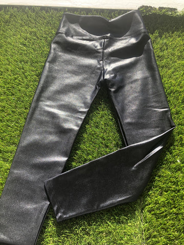 Dori Creations High Waisted Black Lame Legging Girls