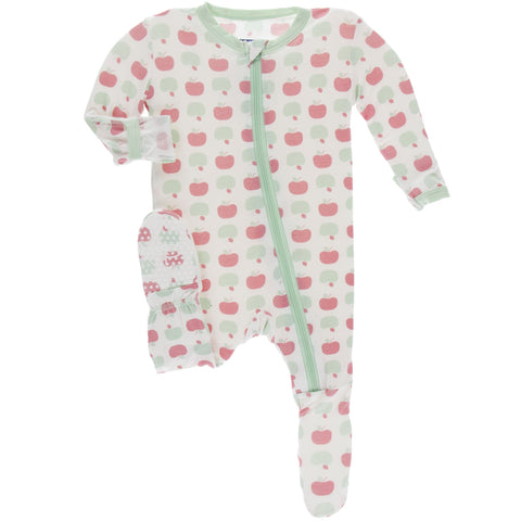 KP Natural Apples Zipper Footie Baby Girl Pajama