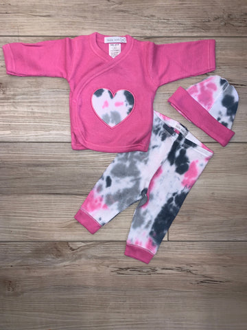 Baby Steps 3PC Heart Fuscia Tye Dye Baby Girl