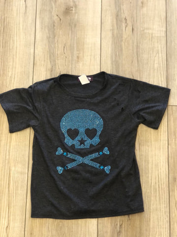 Stoopher & Boots Blue Skull Distressed Tee Grey Girls