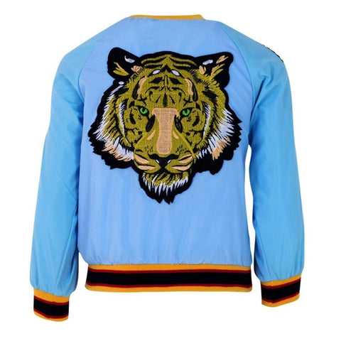 Lola & The Boys Green Eyed Tiger Satin Bomber