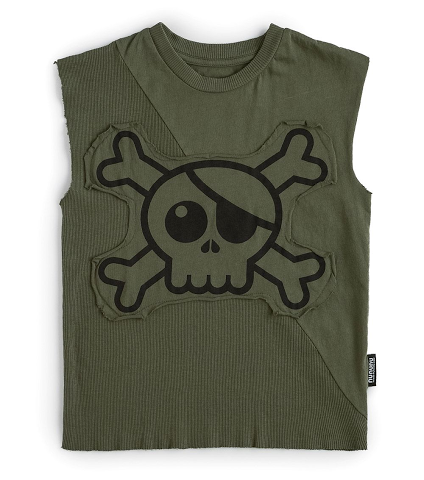 Nununu Sleeveless Olive Skull Shirt Boys