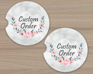 Personalized Car Coasters | Custom Car Accessories | Custom Order | Set of 2
