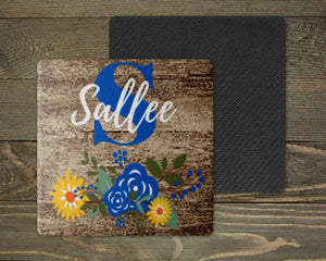 Personalized Coasters | Custom Stone Coaster Set | Faux Wood Sunflower | Set of 4