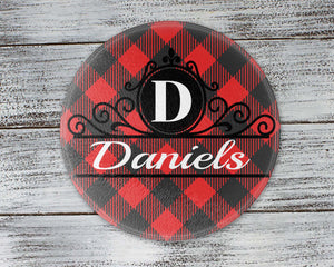 Personalized Cutting Board | Custom Glass Cutting Board | Buffalo Plaid