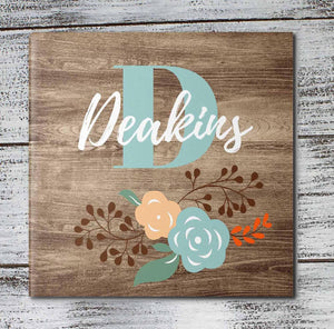 Personalized Coasters | Custom Stone Coaster Set | Faux Wood Floral | Set of 4