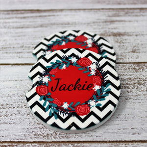 Car Accessories | Personalized Car Coasters | Custom Car Accessories | Black Chevron | Set of 2 | This and That Solutions | Personalized Gifts | Custom Home Décor