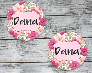 Car Accessories | Personalized Car Coasters | Custom Car Accessories | Floral Hibiscus | Set of 2 | This and That Solutions | Personalized Gifts | Custom Home Décor