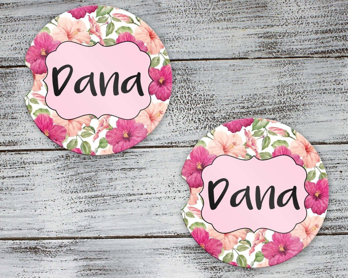 Car Accessories - Personalized Car Coasters | Custom Car Accessories | Floral Hibiscus | Set of 2 - This & That Solutions