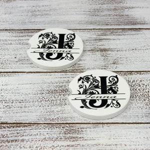 Car Accessories | Personalized Car Coasters | Custom Car Accessories | Regal Floral Monogram | Set of 2 | This and That Solutions | Personalized Gifts | Custom Home Décor